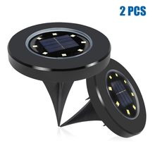 8LED Solar Power Buried Light Decking ABS For Home Garden Lawn Under Ground Lamp Outdoor Path Waterproof