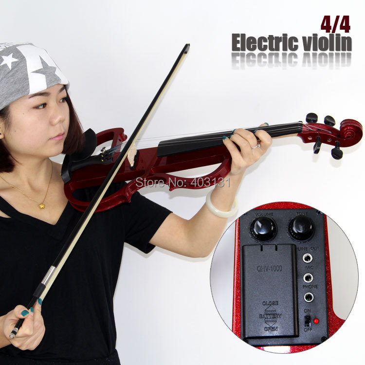 4/4 Violin Jujube Red Electric Violin with Violin Case and Violin Bow Made in China Free Shipping 2015 new delicious wild zizyphus jujube in shanxi 200 g red dried fruits candied jujube leisure cocktail snacks free shipping