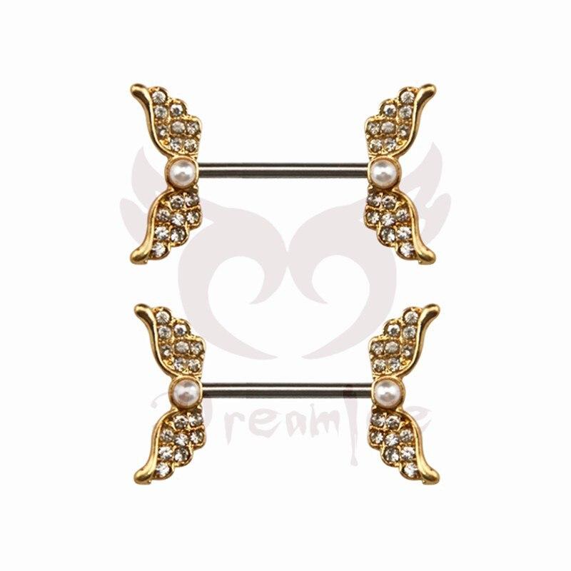 Dreamlee pave gem angel wings nipple barbell ring piercing for Angel wings nipple piercing jewelry