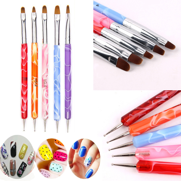5Pc/Set Women Lady 2 Way Dotting Manicure Tools Painting Pen Brush ...