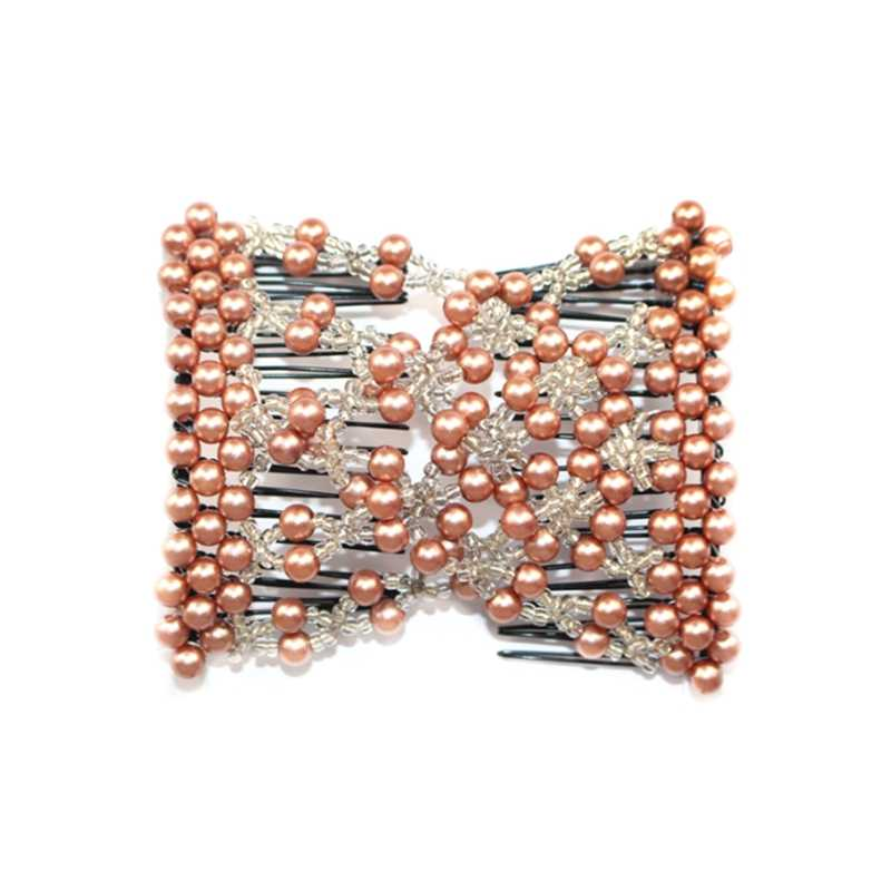 Magic Hair Comb EZ Beaded Double Stretching Delicate Pearl Women Clips Hairstyle