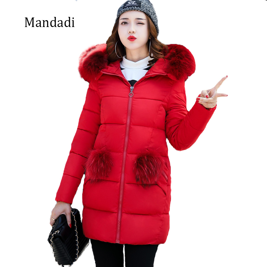 2017 Winter female Jacket Wome Cotton Coat Fur Collar Hood Parka High Quality Fashion Zipper Thick Femme Outwear Jacket