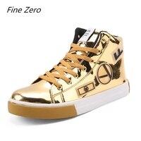 Fine Zero Spring Autumn Men Patent Leather Male Golden Silver High Tops Men's Super Cool Shoes Glitter Casual Shoes Flats Shoes