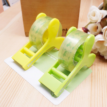 school creative novelty mini cute green shoots tape storage organizer cutter cutting tape dispenser office warehouse tool