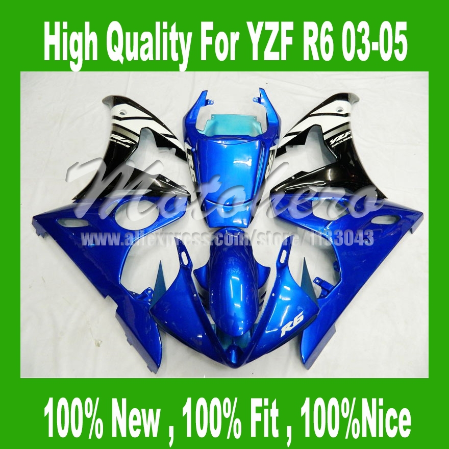 Hi-Quality Blue black fairings for 03 04 05 Yamaha YZF R6 03 04 05 YZF-R6 03-05 YZF600 R6 2003 04 2005 fairing kits AAA +7Gifts mfs motor motorcycle part front rear brake discs rotor for yamaha yzf r6 2003 2004 2005 yzfr6 03 04 05 gold