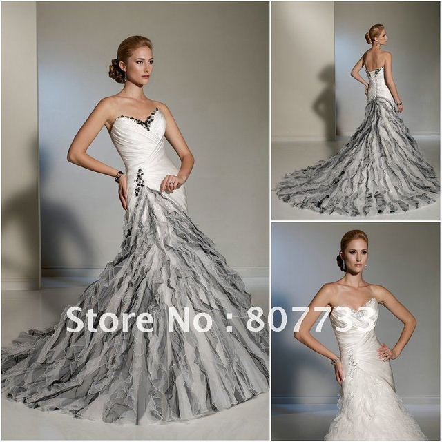 cf41be2718832 Free Shipping!!! Mermaid sweetheart neckline beaded and ruffled organza  black and white wedding dress
