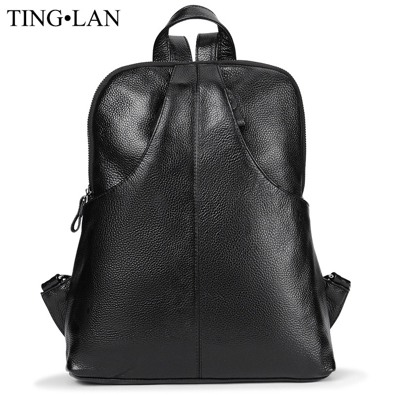 ФОТО Real Leather Women Backpacks Korean Style Ladies Backpack For Girls School Bags Black Cowhide Travel Bags Mochilas High Quality