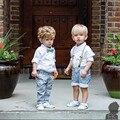 2015 Novo Bebê Meninos conjunto de Roupas Macacão Terno Cavalheiro gravata borboleta longo-manga da camisa + calças 2 pcs Crianças frete grátis