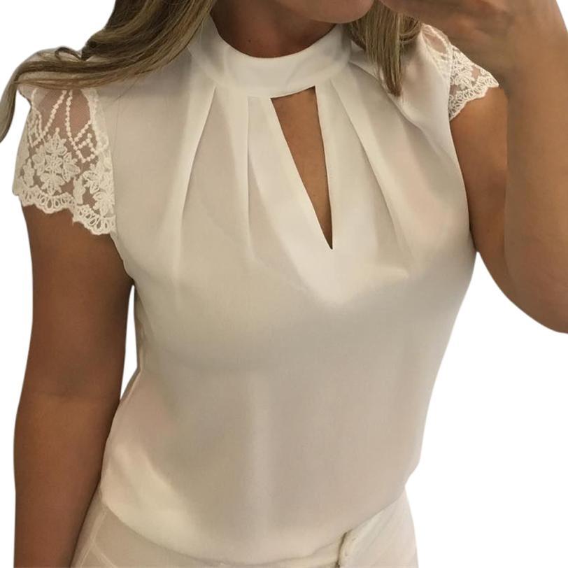 5XL! Plus Size Casual Chiffon Blouse Fashion Women Hot Summer Lace Tops blusas Office Tunic Basic stylish Shirt Mujer #ZT1145