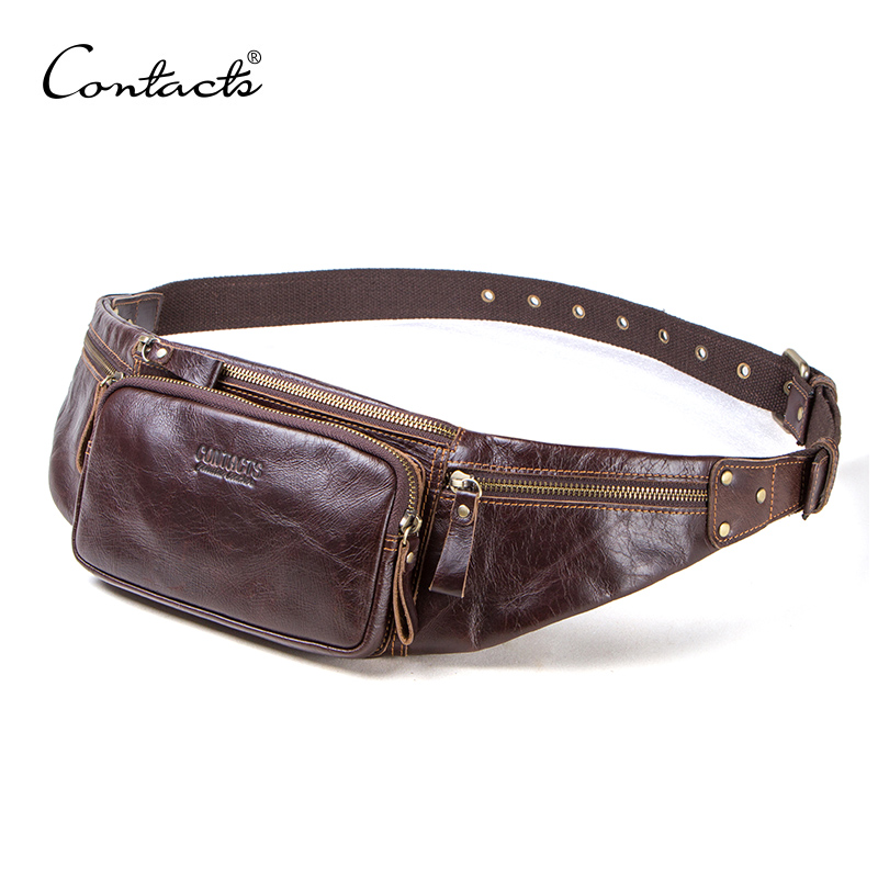 CONTACT'S cow leather men waist bag new casual small fanny pack male waist pack for cell phone and credit cards travel chest bag 1