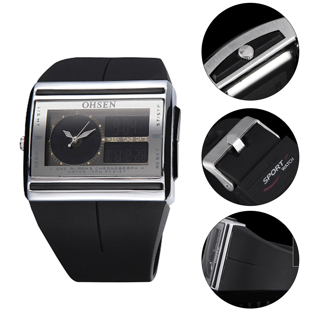 OHSEN Relogio Masculino Analog Digital Watch Men Led Electronic Dual Core Outdoor Wristwatch Military Quartz Watch Real Clen !!! postmodern minimalist fans glass art decor chandeliers g9 6 9 heads creative pendent lights living rooms dining room bedroom