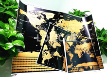 Deluxe World map Vintage posters Travel wall sticker retro paint bar cafe print picture Scratch off world maps drop shipping