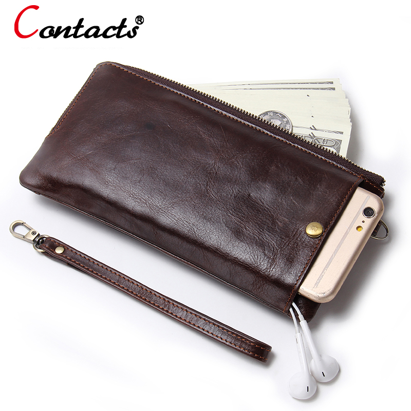 CONTACT'S Genuine leather men wallets male clutch bags card holder leather wallet phone pocket coin purse male purse Wrist Bag men s purse long genuine leather clutch wallet travel passport holder id card bag fashion male phone business handbag