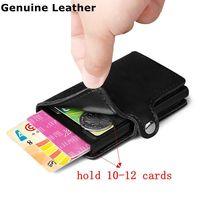 Для мужчин 100% натуральная кожа алюминиевый кошелёк с задним карманом ID держатель для Карт RFID Блокировка мини-тонкий металлический кошелек ...