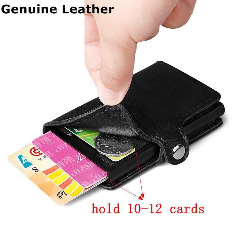 100% homens de couro Genuíno Carteira Com ID Titular Do Cartão de Bolso de Trás de Alumínio RFID Bloqueio de Mini Carteira De Metal Fino Pop up cartão de crédito