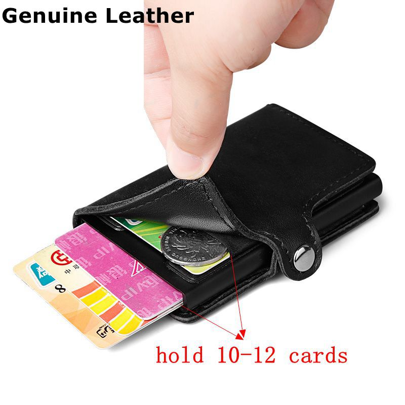 Men 100% Genuine leather Aluminum Wallet With Back Pocket ID Card Holder RFID Blocking Mini Slim Metal Wallet Pop up Credit Card mooncase чехол для sony xperia m4 rainbow pattern leather flip wallet card holder with kickstand back a05