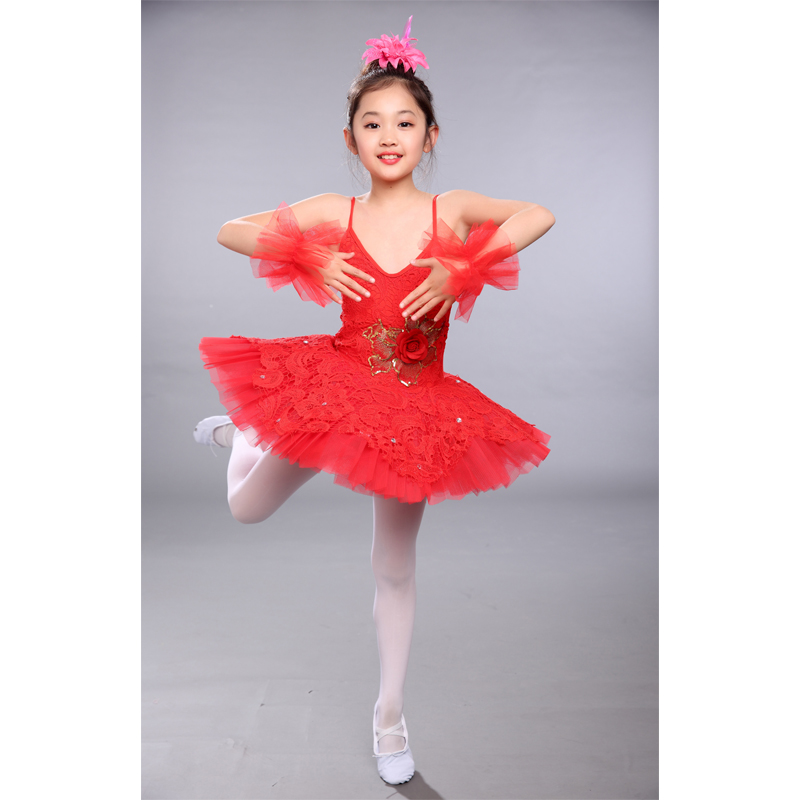 Ballet Loyal Hot Red Sequins Ballet Dancewear For 80-150cm Children Kids Lovely Ballet Costume Girl Stage Training Dancing Ballerina Dresses
