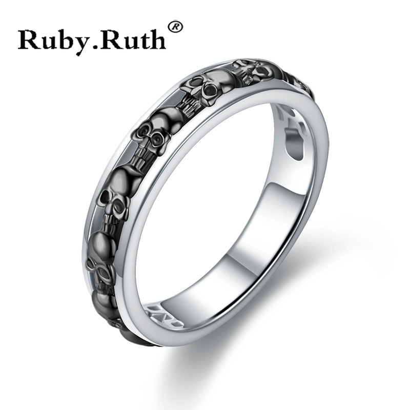 Vintage Skull Ring Silver Color Punk  Skeleton Design Round Bands Finger Ring Men Women Retro Party Gift Jewelry Dropshipping