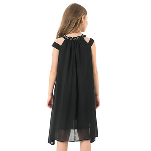 Image 2 - Toddler Girl Dresses Summer Black Chiffon Slip Dress Children Beach Wear Casual Girls Party Dress Kids Clothes 8 10 12 14 Years