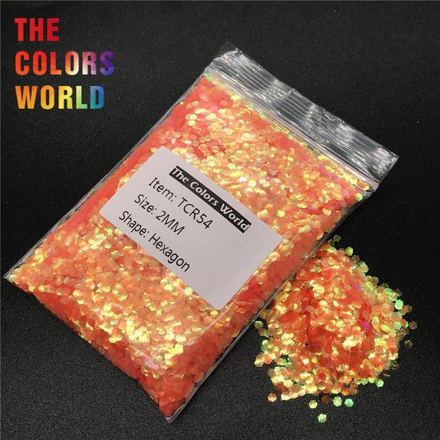 Tcr54 Iridescent Rainbow Orange Red Color Hexagon Shape Glitter Nail