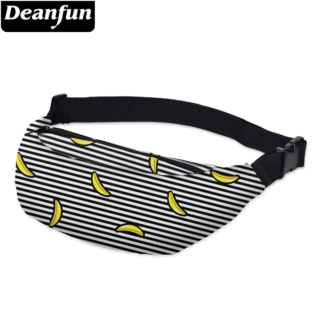 Deanfun 3D Printed Waist bags Striped with Banana Pattern  Adjustable Band for Outdoors YB20