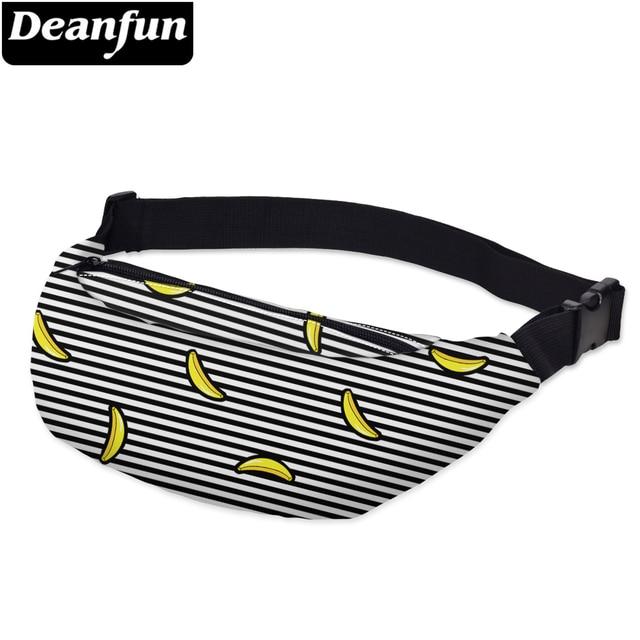 Deanfun 3D מודפס מותניים שקיות חבילת הפסים עם בננה דפוס מתכוונן להקת עבור בחוץ פאני חבילות YB20