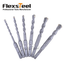 Flexsteel 6 Pieces 6-16MM Electric Coldless Impact Fast Spiral Rotary Masonry Hammer Drill Bits Set Carbide Tip Square Shank