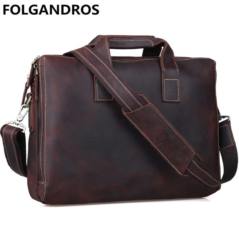 FOLGANDROS Brand Vintage Briefcase For Men Genuine Leather Portfolios Tote Vintage Business Large Capacity Shoulder Bag Handbag