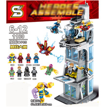 Sy1180 Sermoido Super Heroes Marvel The Avengers Stark Tower 906pcs Thanos Iron Man Building Blocks Toys For Children