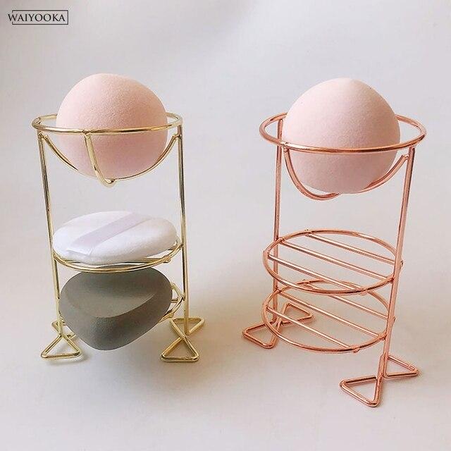 クリエイティブ多機能ダブルデッキメイク美容卵パウダーパフスポンジディスプレイスタンド乾燥スタンドホルダーのためのドレッシングテーブル