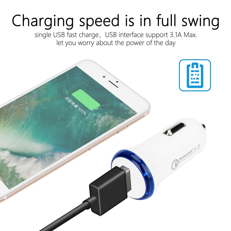 ミニ QC3.0 USB カーチャージャー高速携帯電話充電アダプタ iphone × 7 サムスン Xiaomi ipad 急速充電 QC 3.0 車の充電器