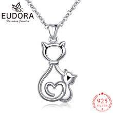 Ожерелье женское из серебра 925 пробы с подвеской в виде кошки