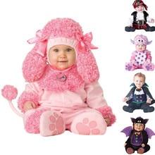 Nova alta qualidade bebê meninos meninas halloween bat vampiro traje macacão crianças conjunto de roupas da criança co splay rosa