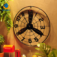 European Round Retro Industrial Style Bronze Electric Fan Model Old Wrought Iron Home Living Room Decoration Wall Clock