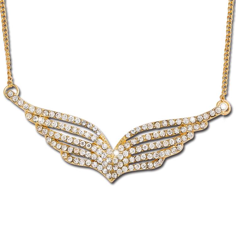 Alloy Full Crystal Rhinestone Angel Wings Pendants Cool Charms Necklaces Pendants For Women T1323