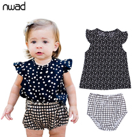 Summer Infant Clothing Set 2017 Fashion Baby Girl Polka Dot Clothes Sets Newborn Baby Costumes Sleeveless Tops +Pants FF159