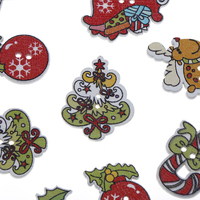 Santa Claus Snowman Mixed Wooden Buttons Christmas Decor Craft DIY Scrapbooking Sewing Buttons Sewing Accessories 15PCsNEW