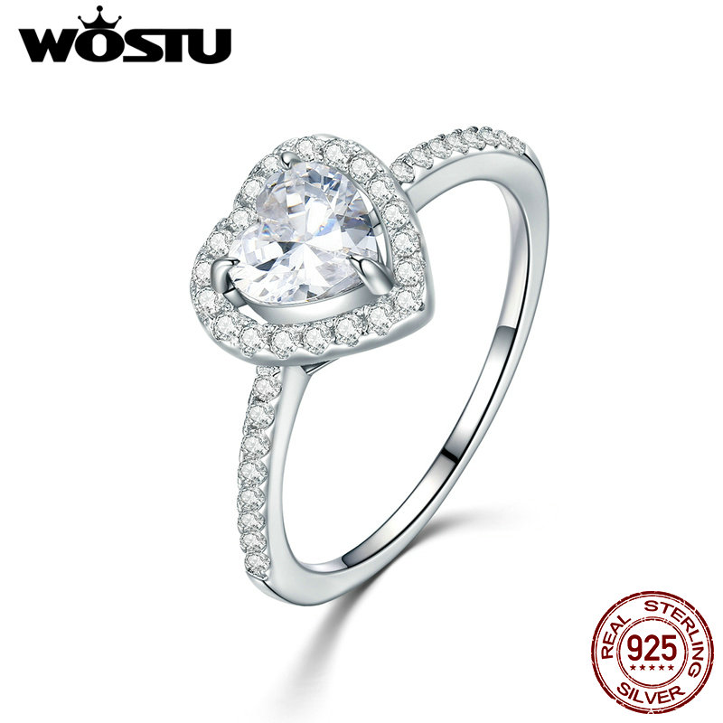 WOSTU 2018 Hot Sale 100% 925 Sterling Silver Dazzling Heart, Clear CZ Finger Rings For Women Luxury Jewelry Gift CQR052