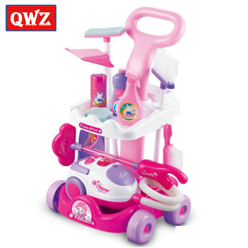 Children Trolleys Play Interactive Toys Simulation Housekeeping Vacuum Cleaners Kitchen Cleaning Small Appliances Pretend Toys new arrival girls play house toys simulation children cleaning trolley with vacuum cleaner tool hygiene with gift