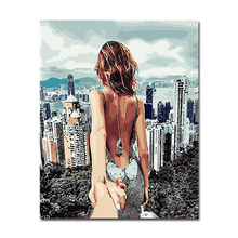 By Numbers Digital DIY Oil Painting Frame Poster Wall Photo Figure Building Art Decoration Canvas Paint Coloring Unique Picture(China)