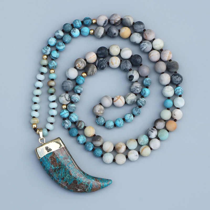 Edothalia Đại Dương Xanh Đá Mặt Dây Chuyền Nữ 108 Hạt Picasso & Amazonite, Phép Thuật Đá Xanh Dương Tập Yoga Mala Vòng Cổ