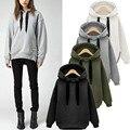 ZANZEA Women Casual Hoodies Sweatshirts Hoody Pullover Leisure 2017 Autumn Long Sleeve Hem Split Solid Outwear Tops Plus Size