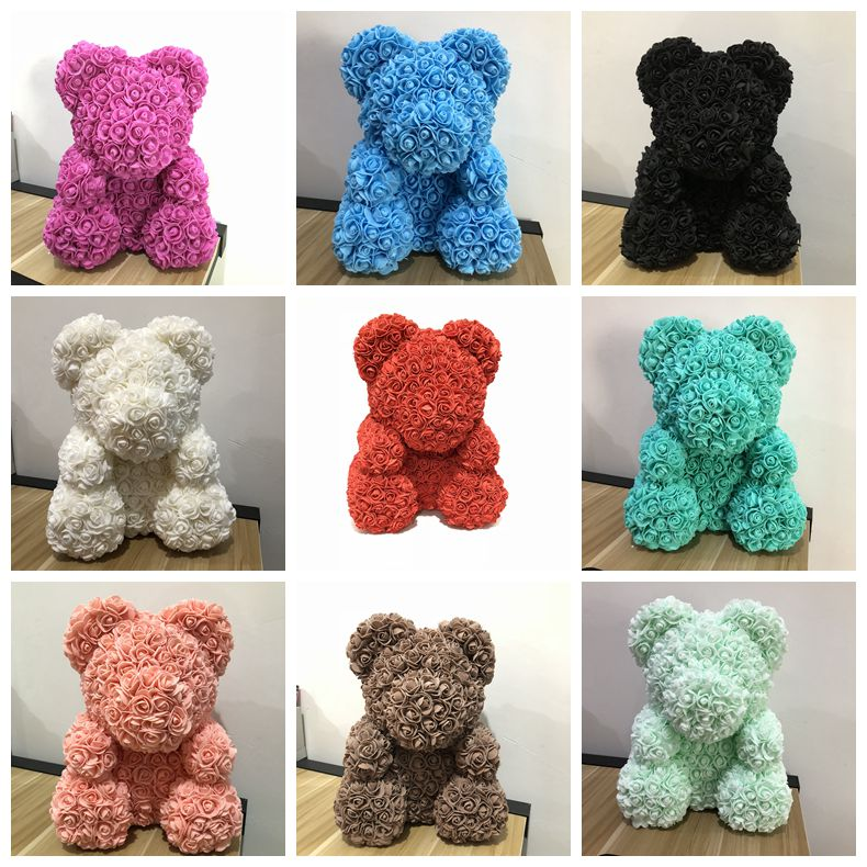 40cm rosa urso multicolorido 2018 presente dos