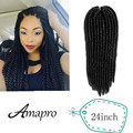 Amapro Kanekalon 24 Inch Mambo Havana Twist Crochet Braids Hair Bulk Senegalese Twist Crochet Synthetic Braiding Hair Extensions