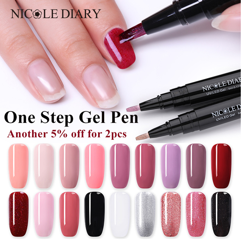 fb8c7e7a33b NICOLE DIARY 3 In 1 Gel Nail Varnish Pen Glitter One Step Nail Art Gel  Polish Hybrid