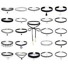 23 unids establece moda harajuku mujeres choker collar cordón de la vendimia del collar de cuero negro cinturón de terciopelo collar mujeres rbr110