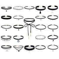 23 Pcs Sets Fashion Harajuku Black Leather Collar Women Choker Necklace Vintage Lace Velvet Belt Necklace