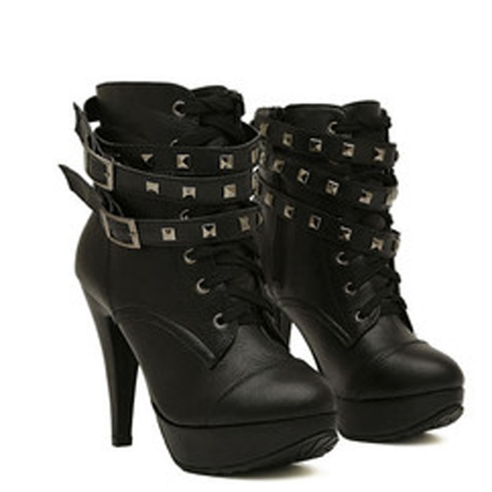 2018 spring fashion Women Black High Heel Martin Ankle Boots Buckle Gothic Punk Motorcycle Combat Boots Platform shoes2018 spring fashion Women Black High Heel Martin Ankle Boots Buckle Gothic Punk Motorcycle Combat Boots Platform shoes