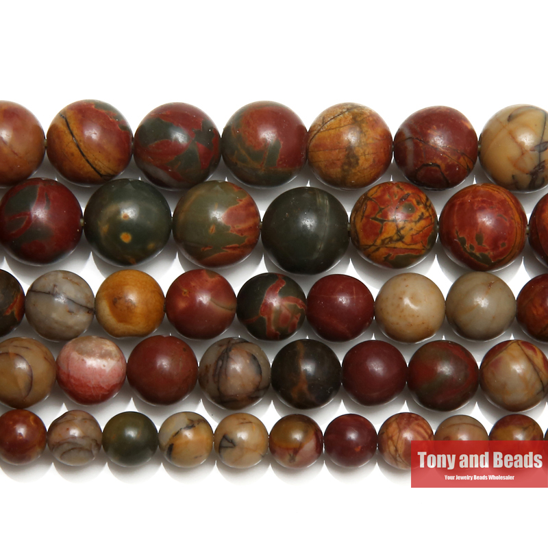 Free Shipping Natural Stone Colorful Picasso Round Loose Beads 15