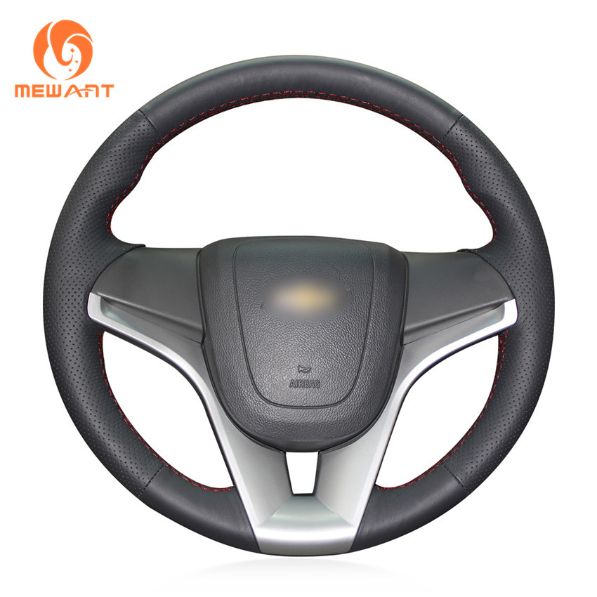 MEWANT Hand-Stitched Black Artificial Leather Steering Wheel Cover for Chevrolet Cruze 2009-2014 Aveo 2011-2014 Orlando 2010 hand stitched black leather steering wheel cover for kia sorento 2009 2014